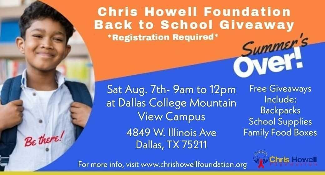 Chris Howell Foundation  Back to School Giveaway - Dallas