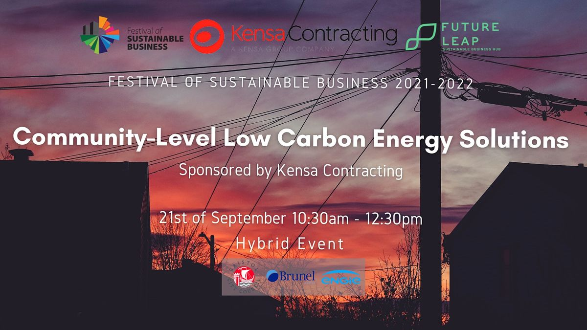 Community-Level Low Carbon Energy Solutions [Conference FoSB 2021-2022]