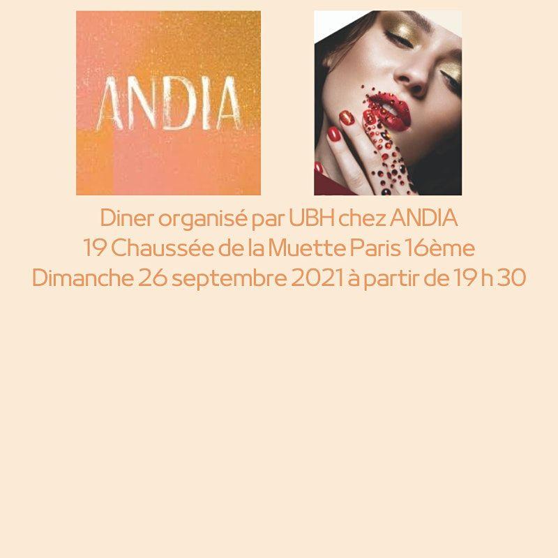D\u00eener organis\u00e9 par UBH chez ANDIA Paris 16\u00e8me - Dimanche 26 septembre 2021