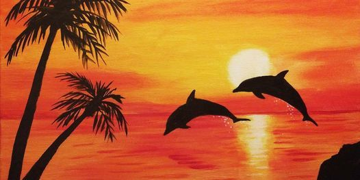 """Sip and Paint  -  """"Dolphins Jumping with Template""""  Estancia La Jolla"""