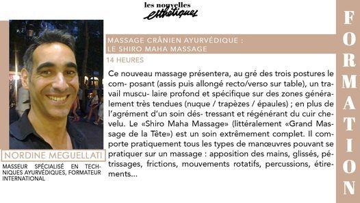 Formation Massage Cr\u00e2nien Ayurv\u00e9dique : Shiro Maha Massage - 6 & 7 Sept - Paris - Nordine Meguellati