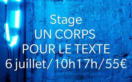 Stage Un Corps Pour Le Texte