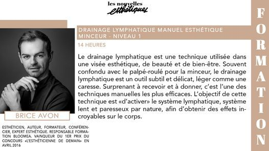Formation > Drainage Manuel Esth\u00e9tique Minceur - Partie 1 - 28 & 29 Sept 21 - Paris - Brice Avon