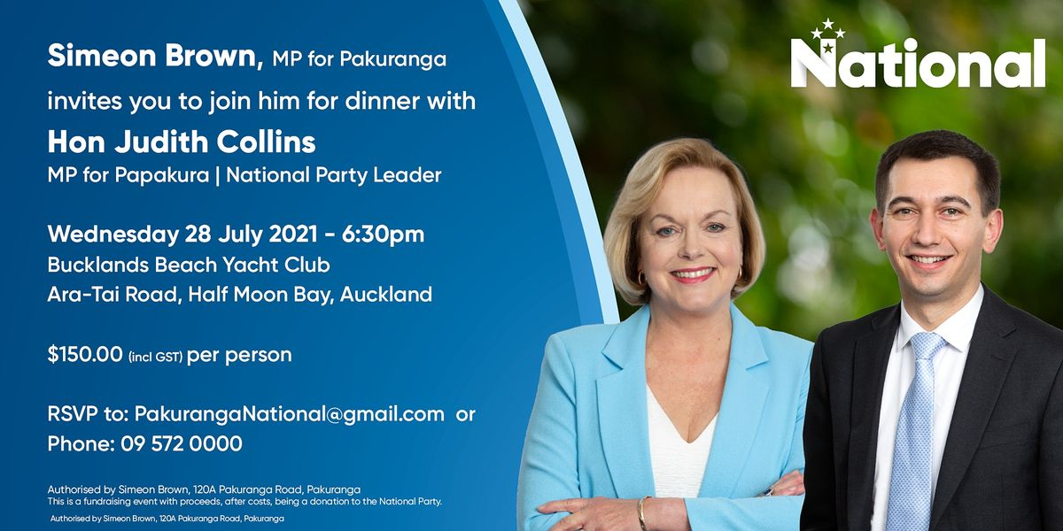 Dinner with Judith Collins, Leader of the National Party, and Simeon Brown.