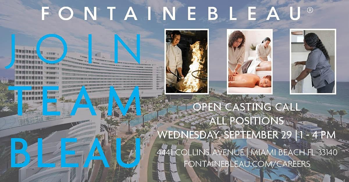 Interested in a Career at Fontainebleau? Join us on September 29!