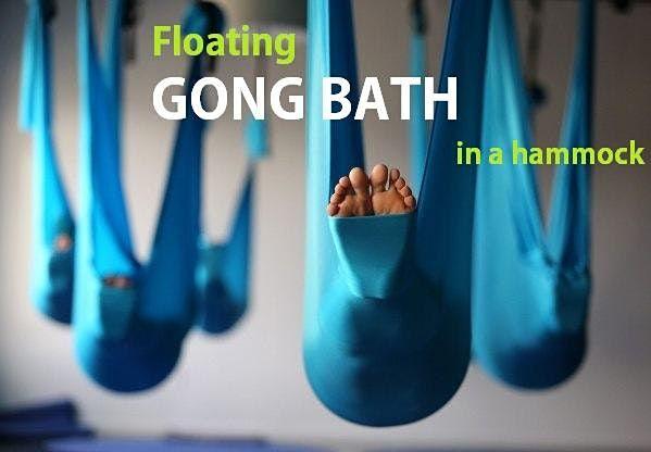 Floating GONG BATH in a hammock