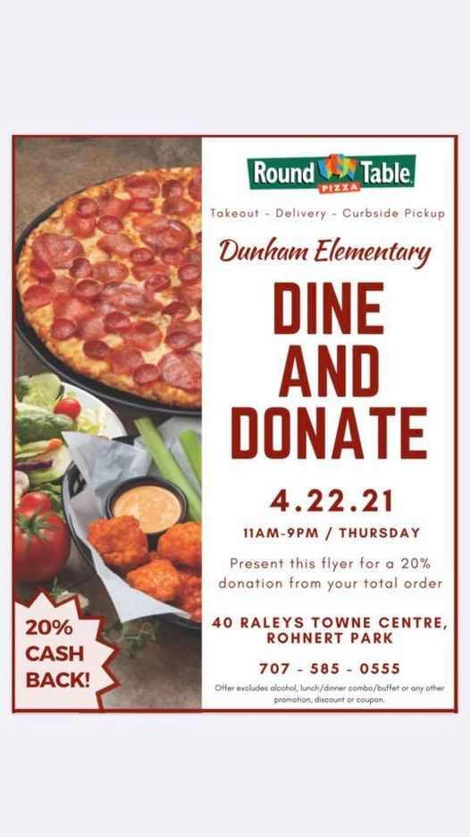 Dine And Donate Round Table Pizza Rohnert Park 22 April 2021