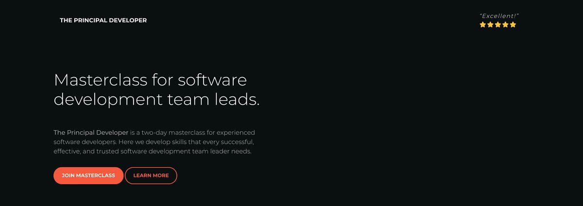 The Principal Developer \u2013 Masterclass for software development team leads.