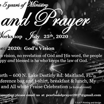 Contact us at 313 505 7116  or pearlsandprayer2017@gmail.com for inforation