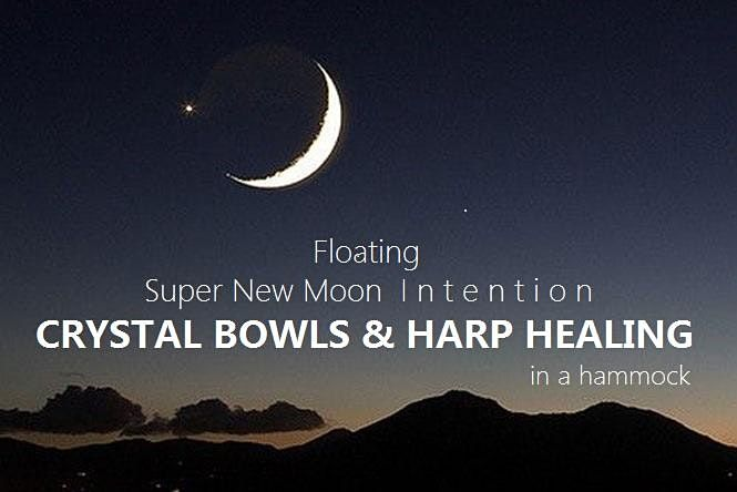 Floating Super New Moon Intention CRYSTAL BOWLS & HARP HEALING in a hammock