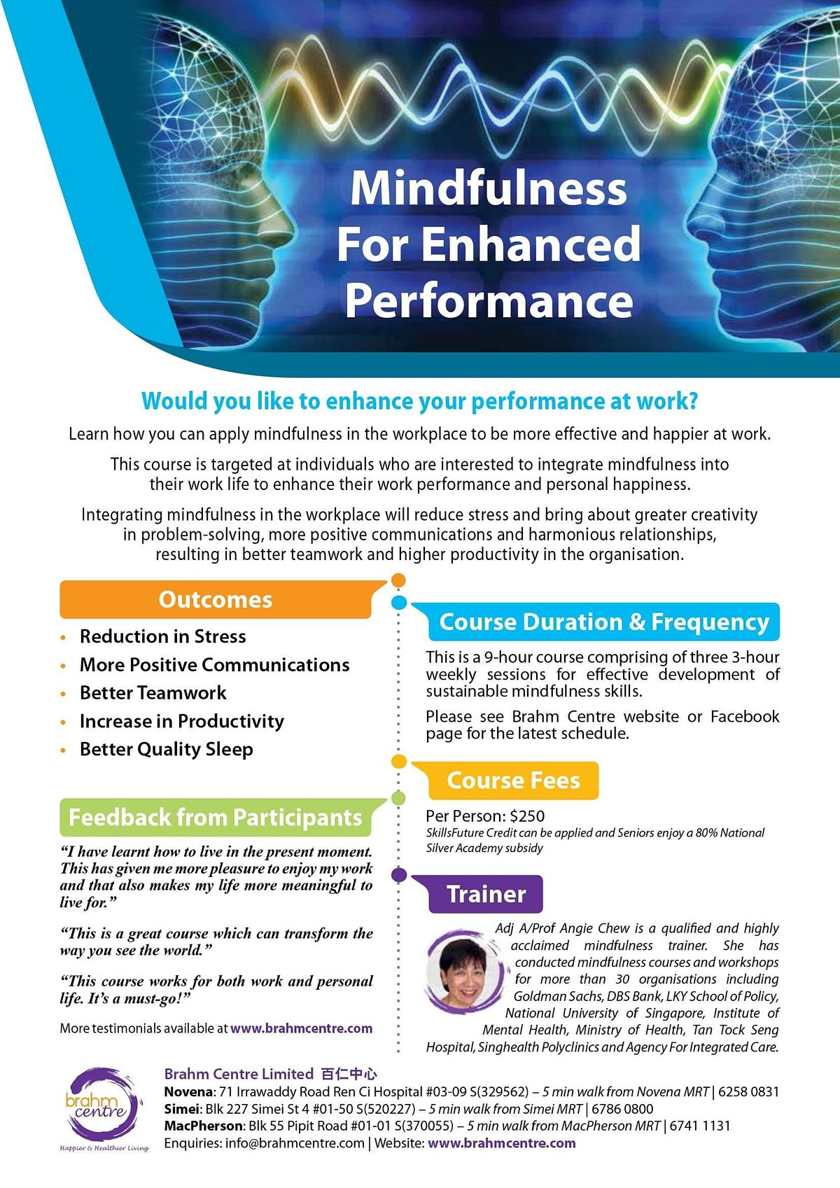 Mindfulness for Enhanced Performance Course- Sept 11 (4 sessions) - Newton
