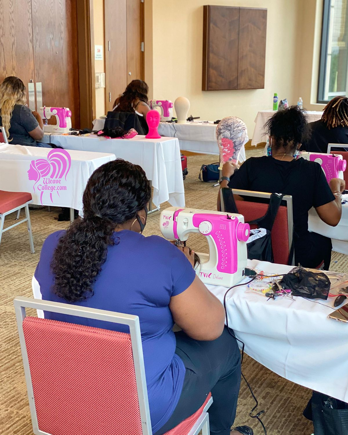 Miami FL   Lace Front Wig Making Class with Sewing Machine