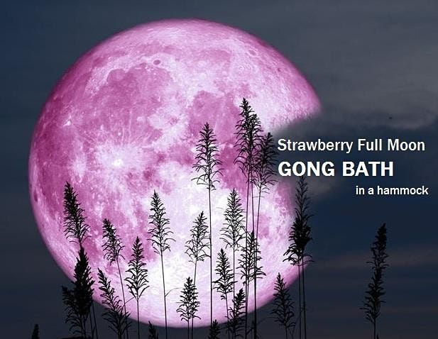 Strawberry Full Moon Floating GONG BATH in a hammock