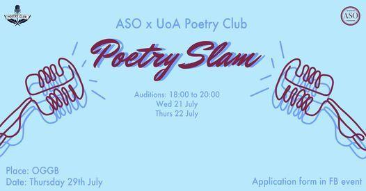 ASO X UoAPoetryClub: Poetry Slam Auditions