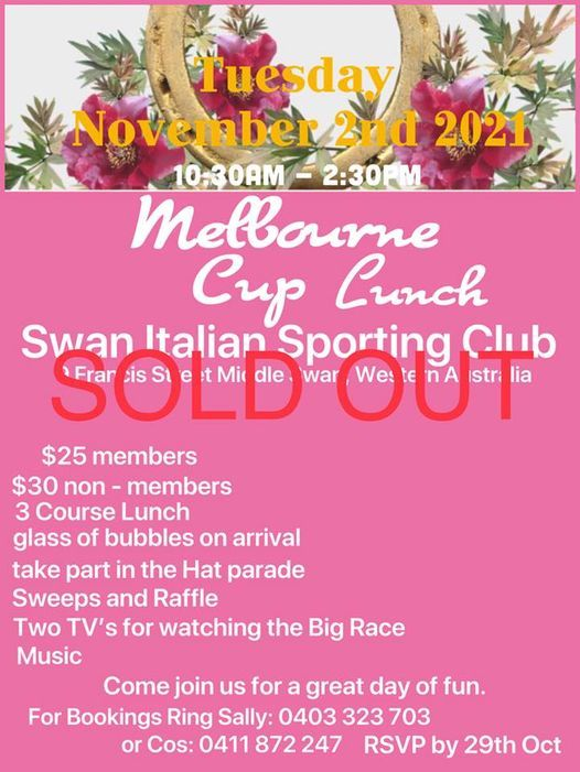 MELBOURNE CUP LUNCH 2nd November 2021