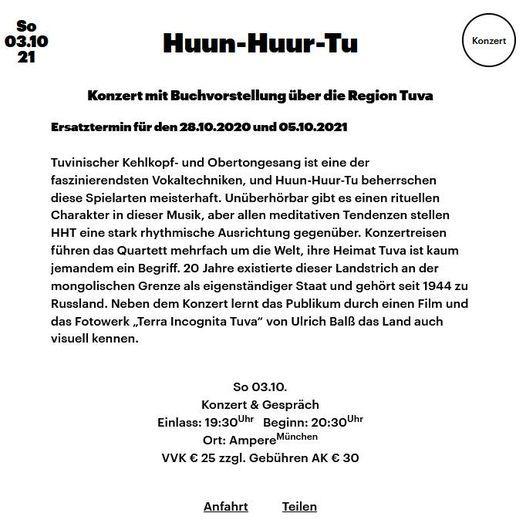 Huun-Huur-Tu Konzert mit Buchvorstellung \u00fcber die Region Tuva