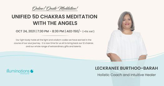 Online\/Onsite Meditation: Unified 5d Chakras Meditation With The Angels With Leckranee Burtho-Barrah